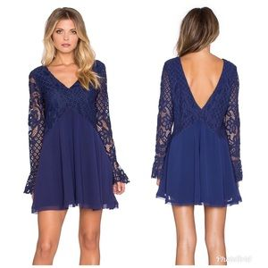 Tularosa Skylar V-Neck Lace Navy Long Sleeve Dress